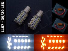 2 x 1157 2357 7528 white amber switchback 39/39 led bulb + load resistor type 1