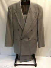 Hugo Boss Noiret Revue Wool 2 Piece Suit Gray Hounds Tooth Double Breasted 40 L