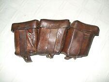 WWII Vintage Original German Triple Leather Ammo Pouch Cartridge M95 Mannlicher
