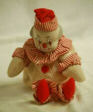 Musical Sitting Clown Doll Ceramic Painted Face Cloth Body Red Polka Dots Stripe