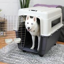 XX-Large Dog Crate Pet Kennel Removable Locking Wheels Travel Airline Approved