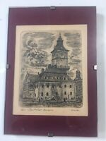 Brasov Monastery Close To Dracula's Castle Romania SIGNED Eligible Small Etching