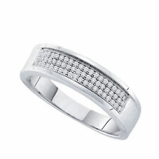 .20ct Mens Diamond Wedding Band 3 Row Micro Pave Sterling Silver