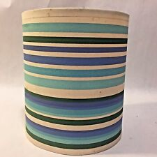 Vtg MCM Blue Green Lavender STRIPED Barrel Lamp Shade Pastel Fabric Plastic
