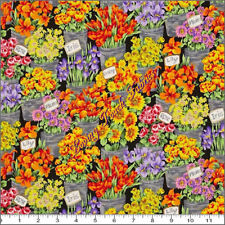 1  2/3 y Fresh Market Flowers Cotton Fabric  Andover Free Ship  BFab