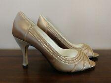 Michaelangelo Jada Peep Toe Pumps Size 6B Beige Tan Gold Satin Sequin
