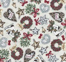 Balmoral Christmas Icons Heart Wreath Holly & Stars on Stone Fabric Makower - FQ