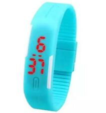 Baby Blue Digital Unisex Sports Watch With Time And Date On A Rubber Strap.