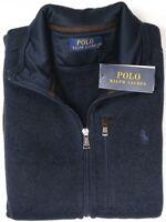 NEW $148 Polo Ralph Lauren Mens Sleeveless Vest Navy Blue Full Zip Fleece NWT