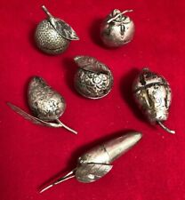 6 Vintage Figural Silver Betel Nut Boxes Fruits Vegetables Cambodian Thai