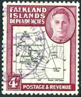 FALKLAND ISLAND DEPENDENCIES-1946 Black & Claret SOUTH POKE VARIETY FU Sg G5c