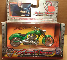 Arlen Ness Iron Legends 1/18 Scale Motorcycle Green w/ purple,yellow flames