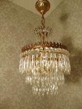 antik alter Kronleuchter Kristalllüster Messing Gold Kristall Frankreich ca.1930