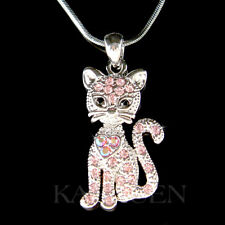 Pink Kitty Cat Kitten movable made with Swarovski Crystal Charm Necklace Jewelry