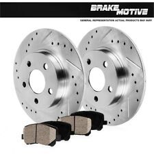 REAR DRILLED & SLOTTED BRAKE ROTORS & CERAMIC PADS Ford Crown Vic Grand Marquis