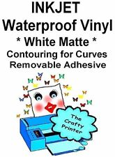 INKJET Waterproof REMOVABLE Adhesive CONTOURING Decal Vinyl - 5 MATTE WHITE