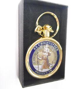 St Christopher Coin Blue Enamel Gold Colour Keyring Gift Boxed