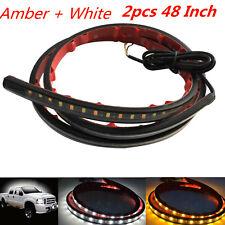 2Pcs Amber White 48'' 120SMD Turn Signal Indicator LED Light Strip DRL Car Side