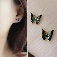 Fashion Butterfly Earrings Blue Stud Women Girls Simple Fashion Jewelry 1 Pair
