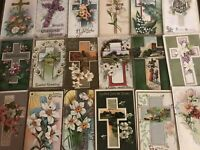 "LOT of 20 BEAUTIFUL Antique~"" EASTER CROSSES"" with Flowers CROSS POSTCARDS-a547"