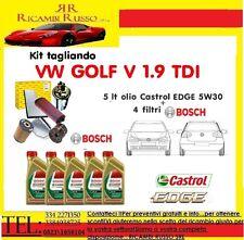Kit tagliando olio CASTROL EDGE 5W30 5LT+4 FILTRI BOSCH VW GOLF 5 V 1.9 TDI