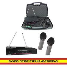 2 Microfonos Inalambricos de mano Dinamicos Semiprofesionales + Receptor VHF
