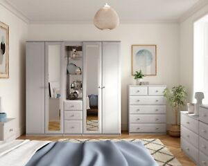 Ready Assembled Boston White Wardrobe Drawers Complete Bedroom Furniture Set