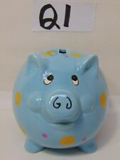 "VINTAGE MID CENTURY BLUE PIGGY BANK CERAMIC WITH POLKA DOTS 5"" LONG POTTERY"