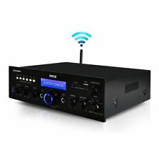 Pyle 200W Bluetooth Home Stereo Amplifier FM Receiver USB AUX MIC Inputs Remote