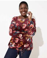 New Loft Womans Floral Velour Drawstring Hem Burgundy Top Sz 14 Soft Stretch NWT