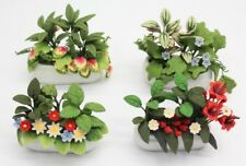 NEW Set Of 4 Dolls House Miniature 1:12 Scale Flowers In Ceramic Jardiniere Pots