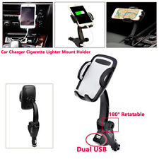 ABS Dual USB Car Charger Holder Mount W/ Cigarette Lighter Chargers For Phone