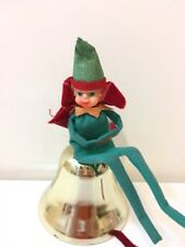 "Vintage Christmas Elf Plastic Face Bendy Feet Sitting on Bell Hanging 12"" 1960s"