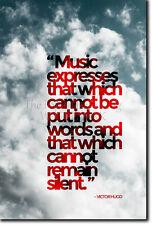 Victor Hugo Citation Poster-Papier Photo Cadeau Art-la musique ne peut pas rester silencieux