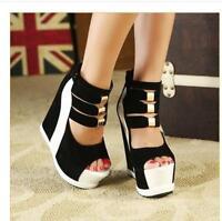 Fashion Womens Platform Wedge Heel Ankle Strap Peep Toe Sandals High Heel Shoes