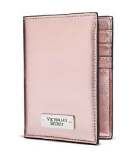 VICTORIA'S SECRET PINK METALLIC PASSPORT COVER CASE TRAVEL WALLET CREDIT CARD