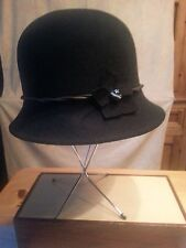 VTG Antique 40s MEMAR Hat Bucket Black Flower Bead Twist Leather Band Italy 22""