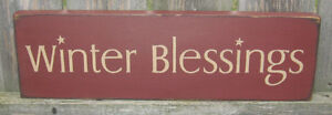 PRIMITIVE  COUNTRY WINTER BLESSINGS  SIGN BURGUNDY