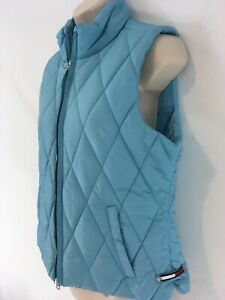 Tommy Hilfiger Womens L Petitie Aqua Blue Insulated Diamond Quilt Zip Front Vest
