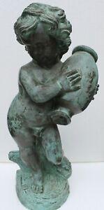 """Bronzefigur """"Junge mit Krug"""" Wasserspeier u. Dekoration für Garten und Teich"""