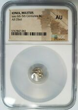 Ionia Miletus Obol 500 BC Lion & Incuse Stellate NGC AU Ancient Silver Coin