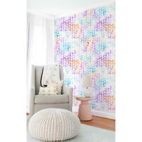 Non-Woven wallpaper  Glitter leaves pattern Colorful nursery Vibrant Home Mural