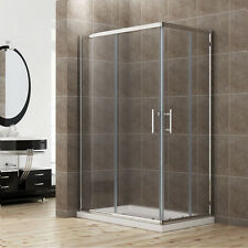 120x100cm Duschkabine Eckeinstieg Doppel Schiebetür Echtglas Duschwand