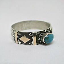 Design Ring Size 8.5 Sterling Silver Turquoise Stone Oval