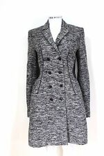 Givenchy Grey Wool Leather Panel Double Breasted Coat It 42 uk 10