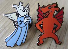 2 x Tintin / Tim und Struppi Pin / Pins: Struppi als Engel & Teufel -  Selten