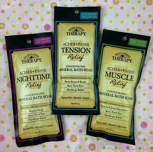 3- Village Naturals Mineral Therapy Bath Soaks Variety Pack