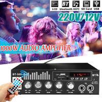 1000W bluetooth Hi-Fi Power Amplifier Stereo Home Karaoke FM USB Amp Car LCD