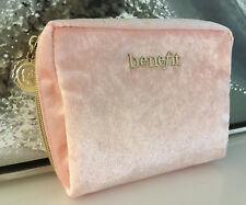 BENEFIT Pink Velvet/Velour Make-Up/Cosmetic Bag With Gold Zipper NEW!