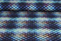 Baumwolljersey Ki-Kö-Design Traumstoffe Fischhaut Reptilienhaut Blau